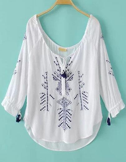 White Scoop Neck Embroidered Loose Blouse