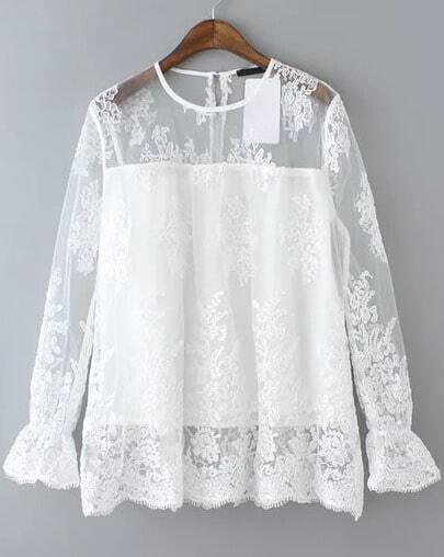 White Round Neck Sheer Lace Loose Blouse