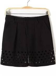 Black Pockets Hollow Straight Shorts