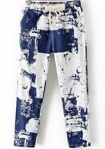 Blue Drawstring Waist Abstract Print Pant