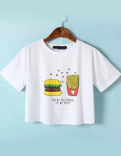 kurzes T-Shirt Kurzarm mit Hamburger Print-weiß