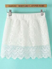 White Hollow Lace Scalloped Skirt