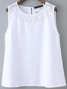 White Round Neck Hollow Embroidered Tank Top