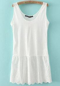 White Scoop Neck Hollow Embroidered Tank Top