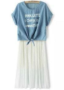 Blue Polka Dot Letters Print Knotted Top With White Dress