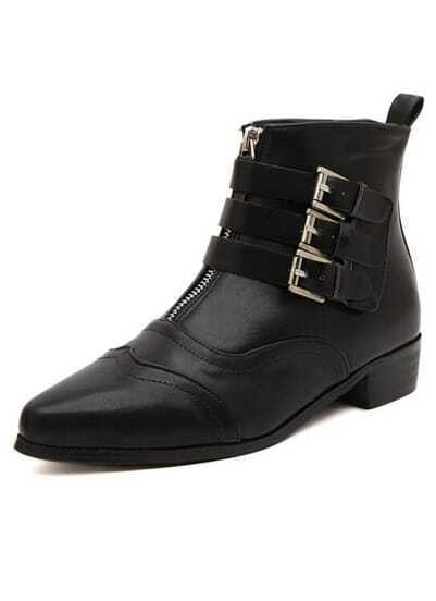 Black Front Zipper Buckle Strap Boots
