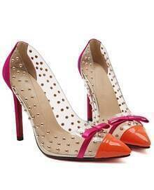 Orange With Bow Rivet High Heeled Pumps