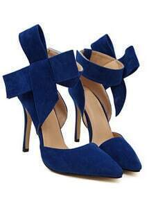 Blue With Bow Slingbacks High Heeled Pumps