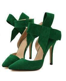 Green With Bow Slingbacks High Heeled Pumps