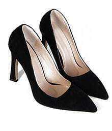 Black Point Toe Asakuchi High Heeled Pumps
