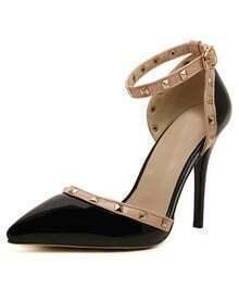 Zapatos con tacón alto tachuela puntera afilada-negro