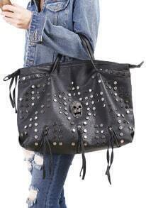 Black With Rivet Skull Tassel PU Shoulder Bag