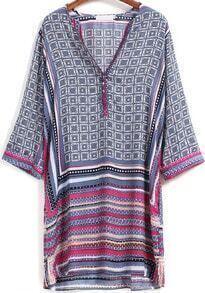 Blue Pink V Neck Geometric Print Dress