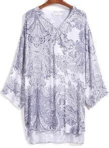 Blue V Neck Bohemia Print High Low Chiffon Dress