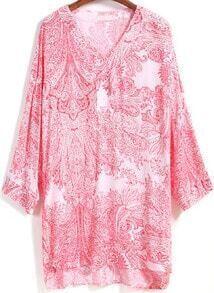 Red V Neck Bohemia Print High Low Chiffon Dress