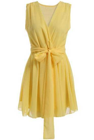 Yellow Lemons Robe V Neck Sleeveless Tie-waist Chiffon Dress