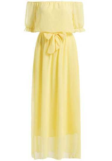 Yellow Boat Neck Tie-waist Chiffon Dress