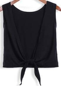 Black Round Neck Backless Knotted Tank Top