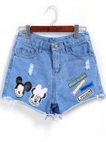 Blue Mickey Print Ripped Denim Shorts