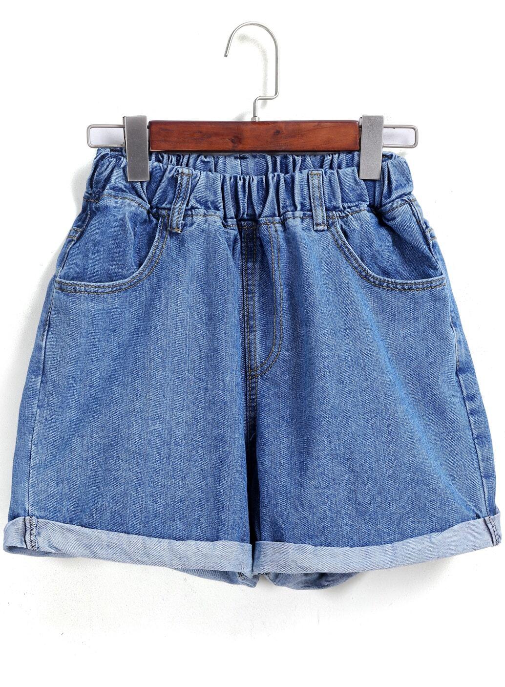 Blue Elastic Waist Flange Denim Shorts -SheIn(Sheinside) - photo#35
