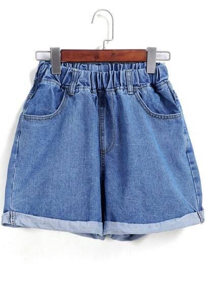 Blue Elastic Waist Flange Denim Shorts