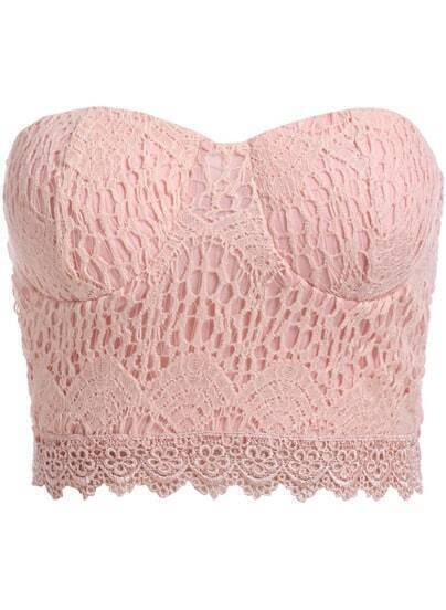 Pink Strapless Lace Crop Lingerie