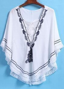 White V Neck Embroidered Peplum Hem Blouse