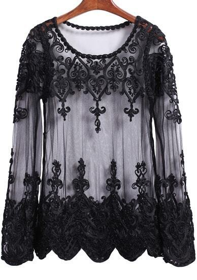 Black Long Sleeve Sheer Mesh Lace Blouse
