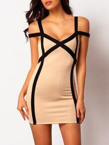 Apricot Strap Slim Bodycon Dress