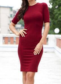 Wine Red Short Sleeve Slim Bodycon Dress