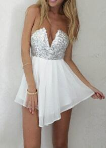White Strapless V Wire Sequined Dress