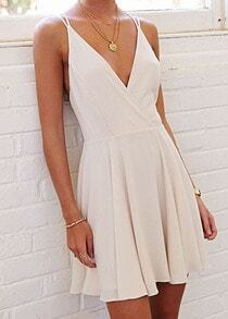 White Coctel Camisole Spaghetti Strap Backless Pleated Dress