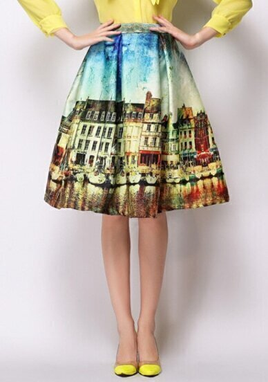 Yellow Landscape Print Midi Skirt