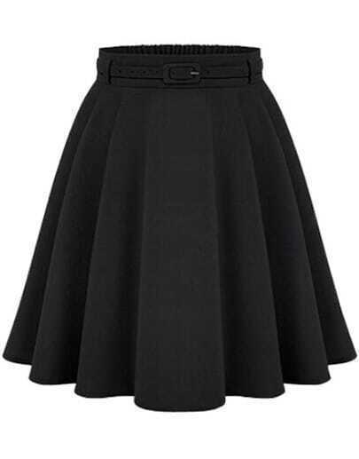 Black High Waist A Line Midi Skirt