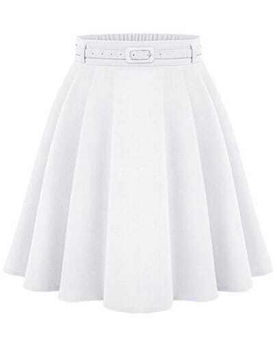 White High Waist A Line Midi Skirt