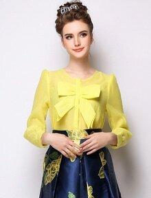 Yellow Long Sleeve Bow Organza Blouse