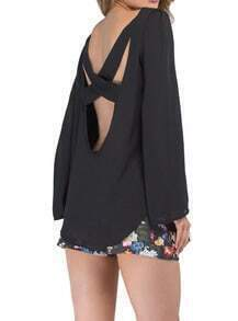 Black Cross Back Loose Chiffon Blouse