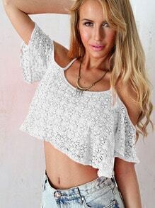 White Criss Cross Back Lace Crop Top
