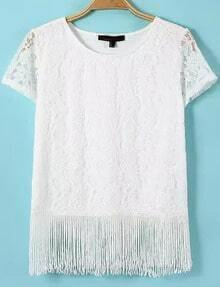 White Short Sleeve Lace Tassel Blouse