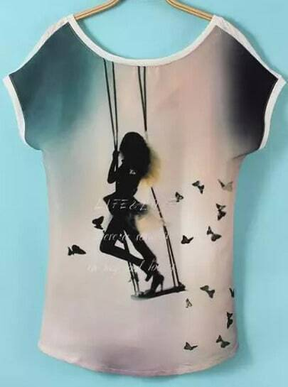 Apricot Backless Swings Girl Print T-Shirt