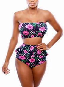 Navy Floral Polka Dot Bikini Set