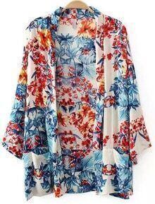 Multicolor Floral Pockets Loose Kimono