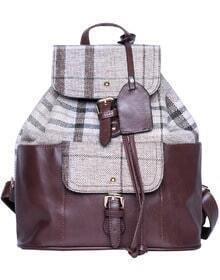 Coffee Contrast Plaid PU Backpacks