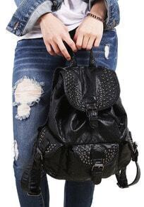 Black With Rivet Belt Buckle PU Backpacks