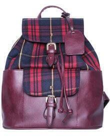 Red Contrast Plaid PU Backpacks