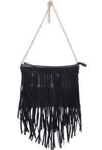 Black With Tassel Zipper Shoulder Bag