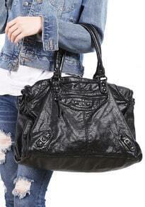 Black Zipper Shoulder Bag