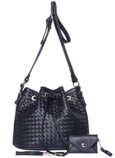 Black Drawstring Woven Shoulder Bag