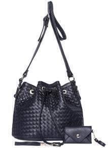 Black Drawstring Woven Shoulder Bag