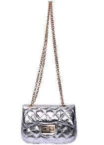 Silver Twist Lock Chain Shoulder Bag